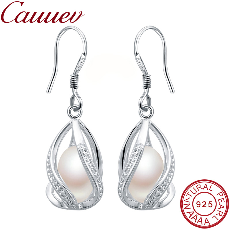 Natural Freshwater Pearl Drop Earrings For Women Elegant 925 Sterling Silver Anti Allergy Earrings DIY Cage Jewelry 2019 Cauuev