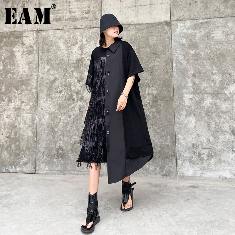 [EAM] Women Black Tassels Split Big Size Shirt Dress New Lapel Half Sleeve Loose Fit Fashion Tide Spring Summer 2020 1T569