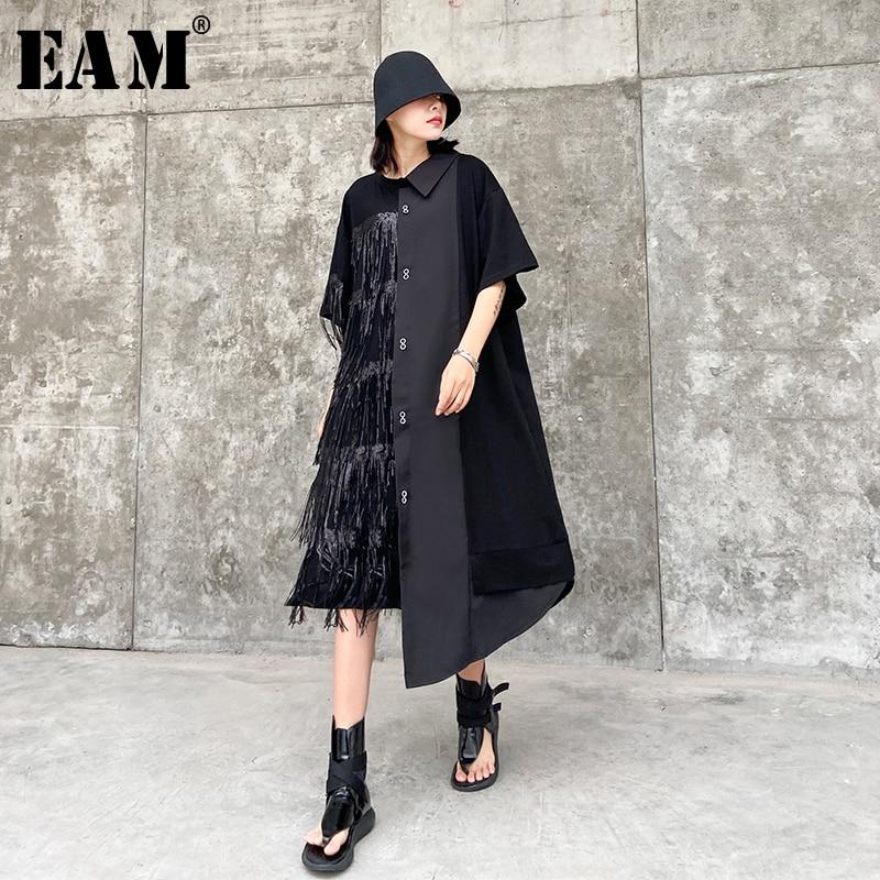 [EAM] Women Black Tassels Split Big Size Shirt Dress New Lapel Half Sleeve Loose Fit Fashion Tide Spring Summer 2020 1T569