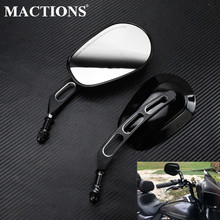 Motorcycle 8mm Rear View Side Mirror Black Rearview Mirrors For Harley Touring Electra Glide Sportster XL Dyna Softail Fat Bob motorcycle 8mm rear view mirrors for harley sportster xl 1200 883 low rider sport glide