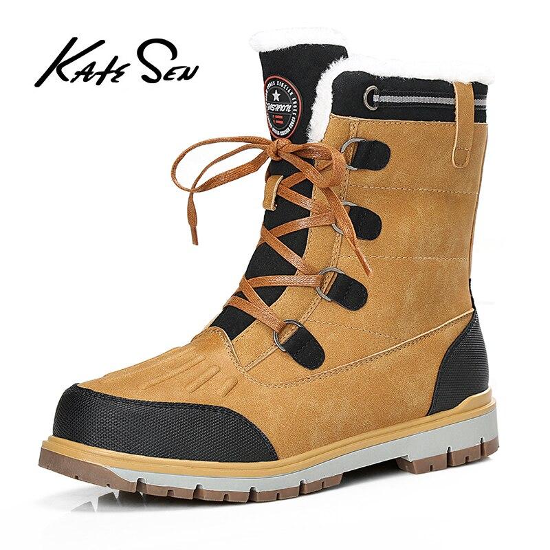 KATESEN New Plush Keep Super Warm Men Boots Winter Boots Rubber Plush Snow Boots England Retro Ankle Boots For Men Winter Shoes