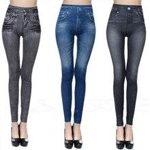 Модные тонкие женские леггинсы из искусственной лосины из джинсовой ткани, сексуальные длинные летние леггинсы с карманами и принтом, повседневные узкие брюки