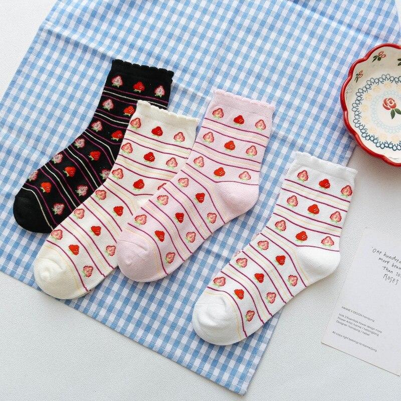 Japanese Korean Style Strawberry Socks Woman Streetwear Cute Pink Socks Cotton Kawaii  For Ladies Winter Autumn Calcetines 62