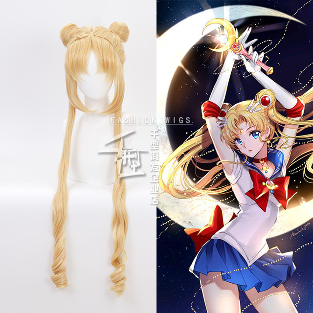 Sailor Moon Double Ponytail Long Straight Blonde  Synthetic Cosplay Wig for Halloween Costume Party