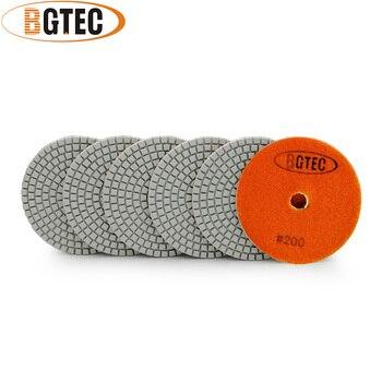цена на BGTEC 4inch 6pcs #200 wet diamond flexible polishing pads 100mm grinding disc for granite, marble, ceramic