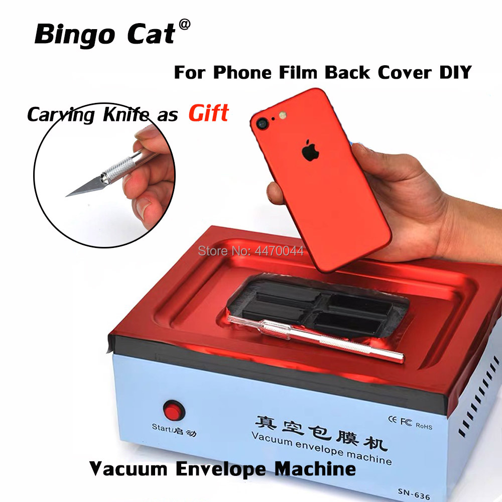 TBK Mobile Phone Vacuum Envelope Machine Automatic Vacuum Back Cover Film Coating Machine For IPhone SAMSUNG HUAWEI And Tablet