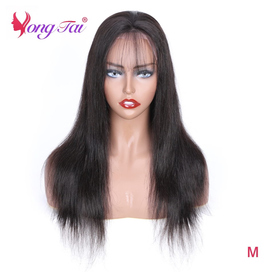 YuYongtai Straight 150% Density HD Lace Frontal Peruvian Wigs For Black Women Pre-plucked Lace Front Human Hair Wig Remy Hair