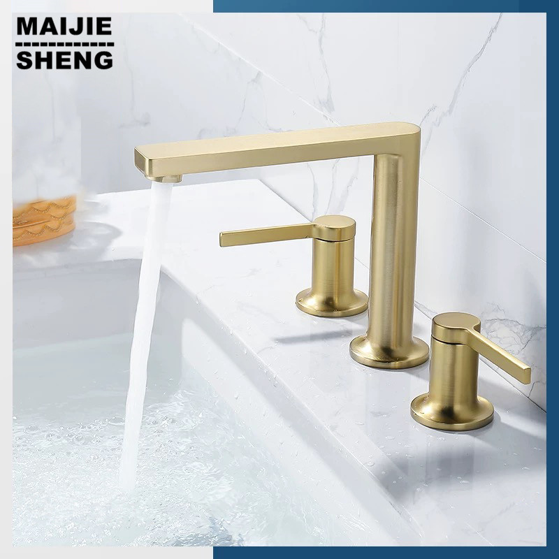 Rushgold bathroom Faucet Cold and Hot Copper 3 holes gold Luxury Bathroom Washing basin Faucet bathroom mixer tap