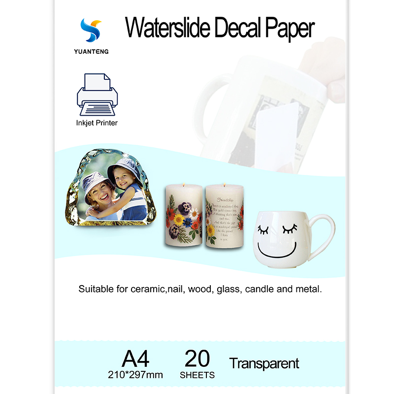 (20 Pieces/lot) A4 Size Inkjet Water Slide Decal Transfer Paper Transparent Printing Paper For Mug Waterslide Nail Decal Paper