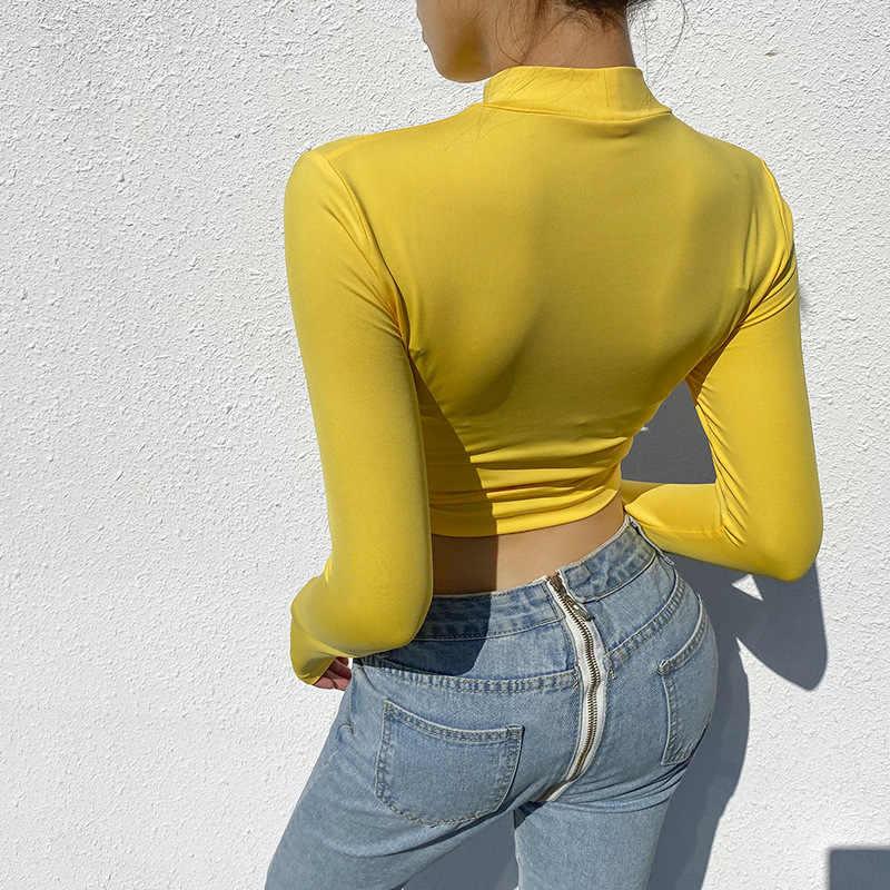 2020 セクシーな女性春夏スリム作物トップス長袖中空クロス Tシャツカジュアル固体スタンドネックニットショート黄色のトップス