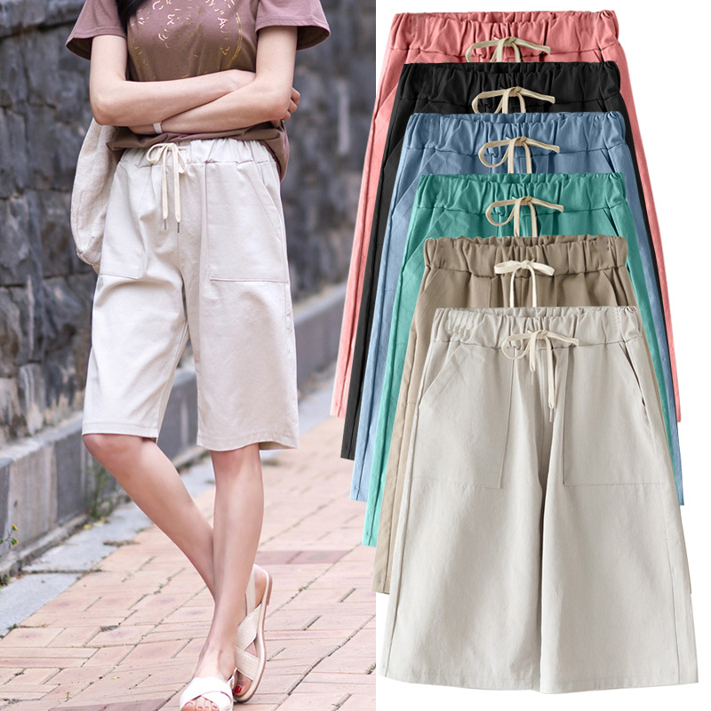 Women Summer bermuda Shorts Cotton Wide legged Leisure Trousers Large Size Loose Elastic Waist With Belt shorts 6XL 7XL 8XL|Shorts|   - AliExpress