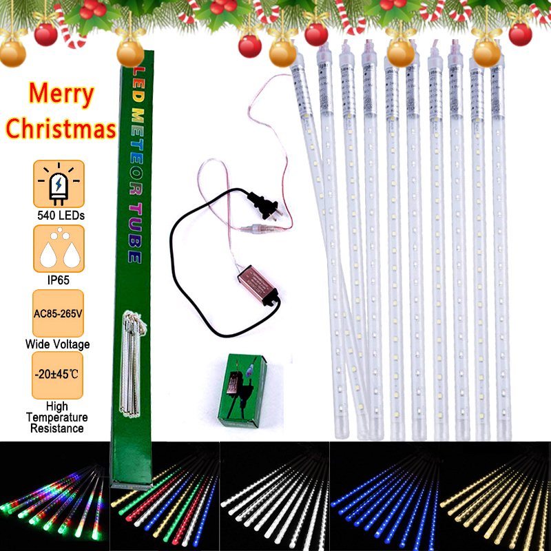 10Pack 50CM US Plug Meteor Shower Rain Tubes 48/54Led DC7/12V LED String Lights Outdoor Waterproof Christmas Wedding Party Decor