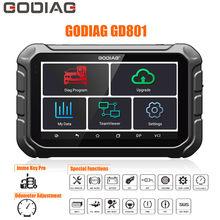 Godiag gd801 chave mestre dp mais auto programador chave com odômetro multi língua