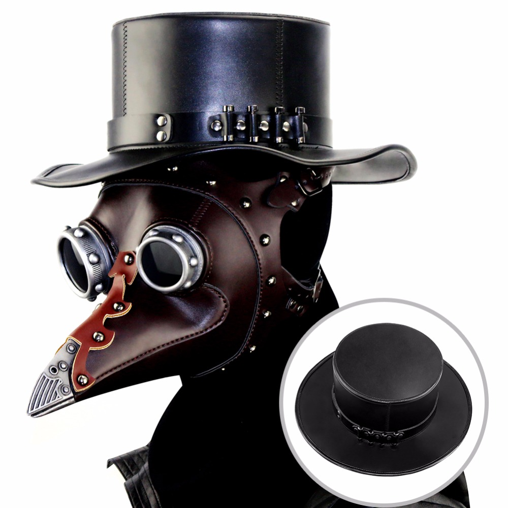 Unisex Adult Black Riveted PU Leather Hat Halloween Plague Cosplay Steampunk Flat Hat Gothic Costume Anime Travel Accessories S1