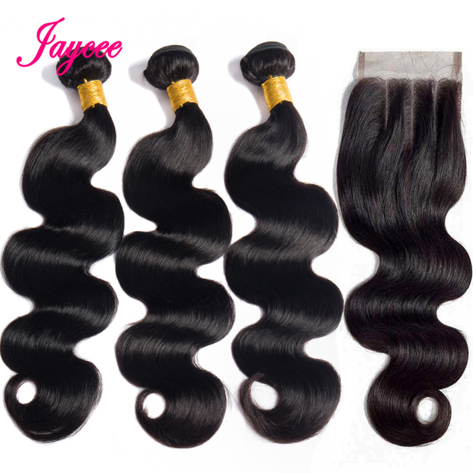 Jaycee Hair Brazilian Body Wave Bundles With Closure 4*4 Free Part Remy Human Hair Bundles With Closure Meche Bresilien