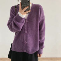 2019 Spring autumn cashmere sweaters women fashion sexy v neck sweater loose wool sweater batwing sleeve plus size Cardigan