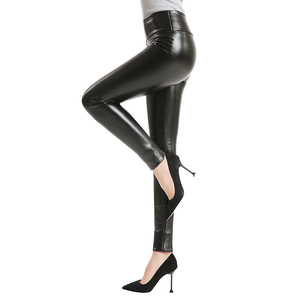 Image 1 - 2020 Hot Winter Leggings Thickening Black Leather Leggings Skinny Pants Warm Womens Trousers Boots Pants For Women Spandex 10%