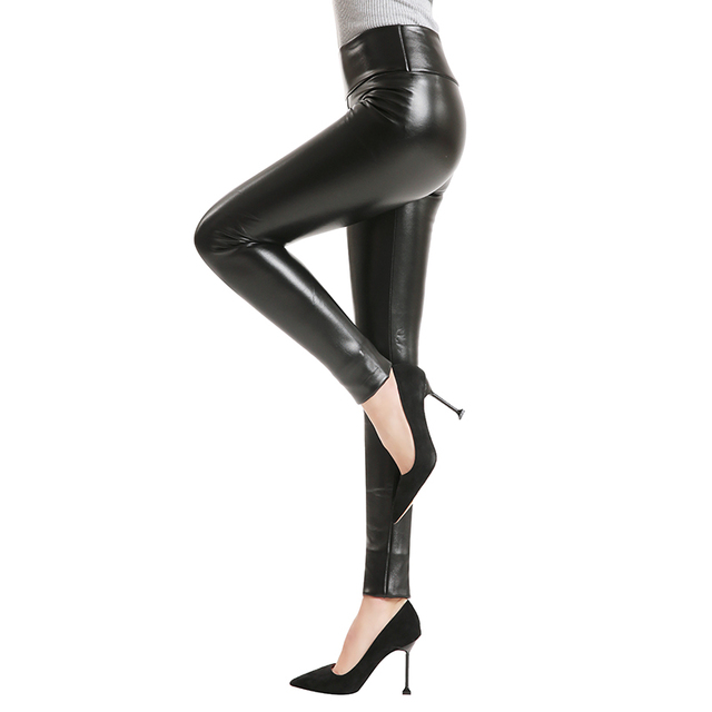 2020 Hot Winter Leggings Thickening Black Leather Leggings Skinny Pants Warm Womens Trousers Boots Pants For Women Spandex 10%