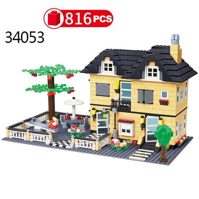 Городская архитектура вилла модель коттеджа Совместимость Legoingly друзья пляж хижина модульный дом деревенские строительные блоки детские игрушки - Цвет: 34053