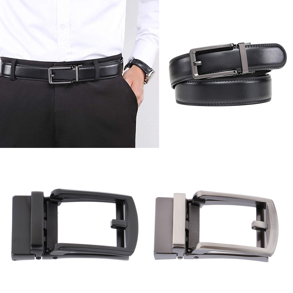 Men's Belt Buckle Accessories Business Ratchet Automatic Alloy Metal Buckle For Leather Belt Or Strap Of 3.5cm