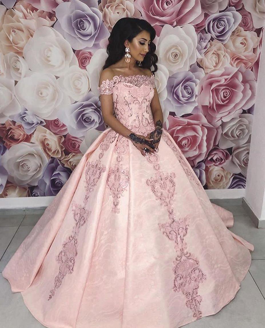Розовые Свадебные платья с открытыми плечами 2019 кружевной вырез лодочкой аппликации пуговицы сзади бальное платье свадебное платье свадеб