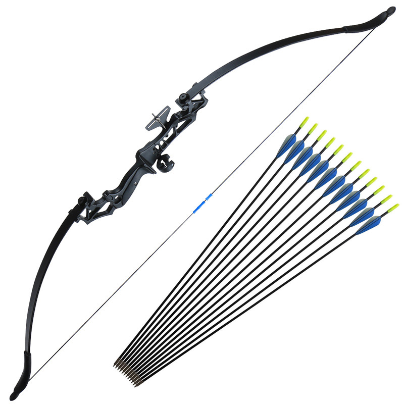 Archery Recurve Bow 30/40lbs Takedown Bow And 12 Pcs Fiberglass Arrows For Beginner Hunting Shooting Bow Exercise Training
