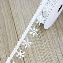 (5 metros/lote) 25mm ultra-sônica de floco de neve fita de tecido Não-tecido Não-tecido em relevo decoração Do Natal Do floco de neve de cordas rendas