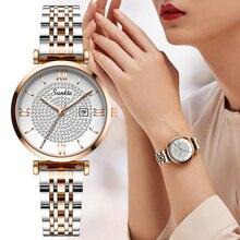 Sunkta montre à quartz pour femmes, marque de luxe, entièrement en acier, bracelet étanche, tendance, collection décontracté