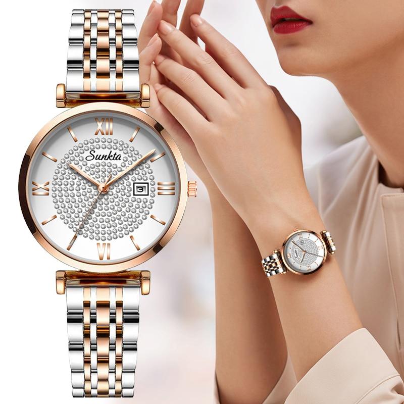 Sunkta Ladies Watch Top Brand Luxury Casual Fashion Watch Ladies Full Steel Waterproof Clock Quartz Wristwatch Relogio Feminin