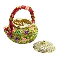 Mini Teapot Trinket Boxes Ornament Crystals Hand painted Patterns Jewelry Box
