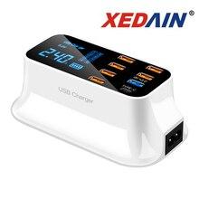 Cyfrowy wyświetlacz LCD Chargeur 8 portów USB dla Xiaomi Huawei Samsung iPhone Android Adaptateur telefon przenośny Chargeur XEDAIN