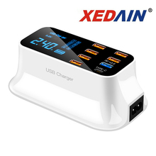 Màn Hình Hiển Thị Kỹ Thuật Số Màn Hình LCD Chargeur 8 Cổng USB Dành Cho Xiaomi Huawei Samsung iPhone Android Adaptateur Điện Thoại Di Động Chargeur XEDAIN