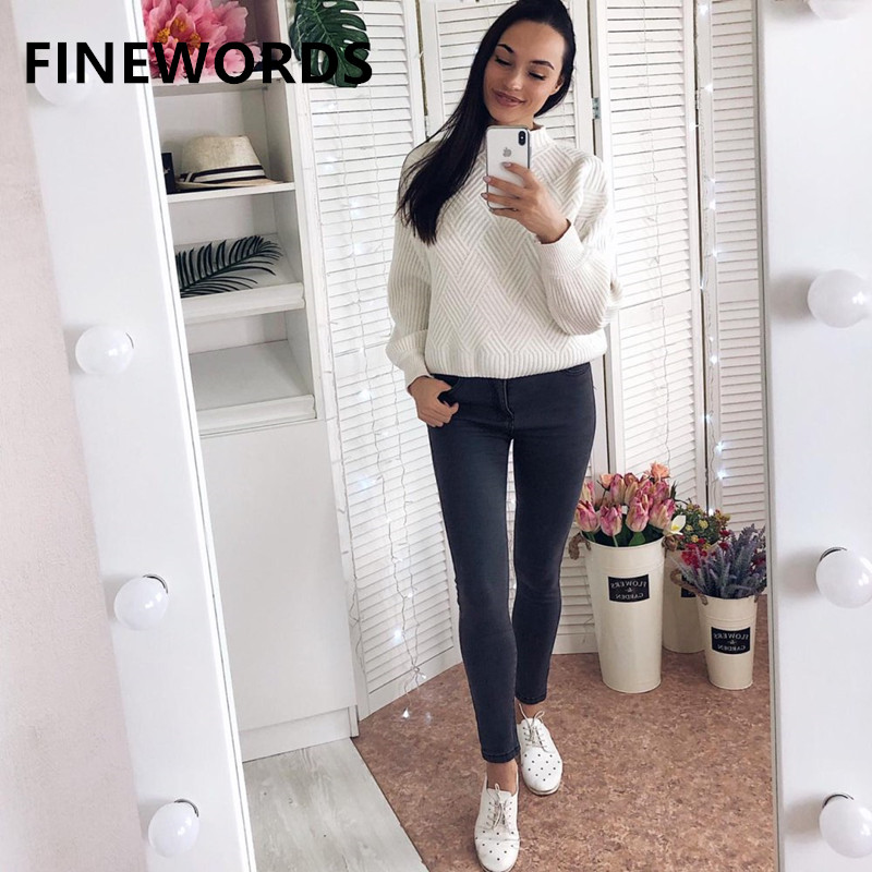 FINEWORDS Korean Style Streetwear Women High Waist Jeans Slim Stretch Push Up Skinny Jeans Woman Plus Size Pencil Denim Pants