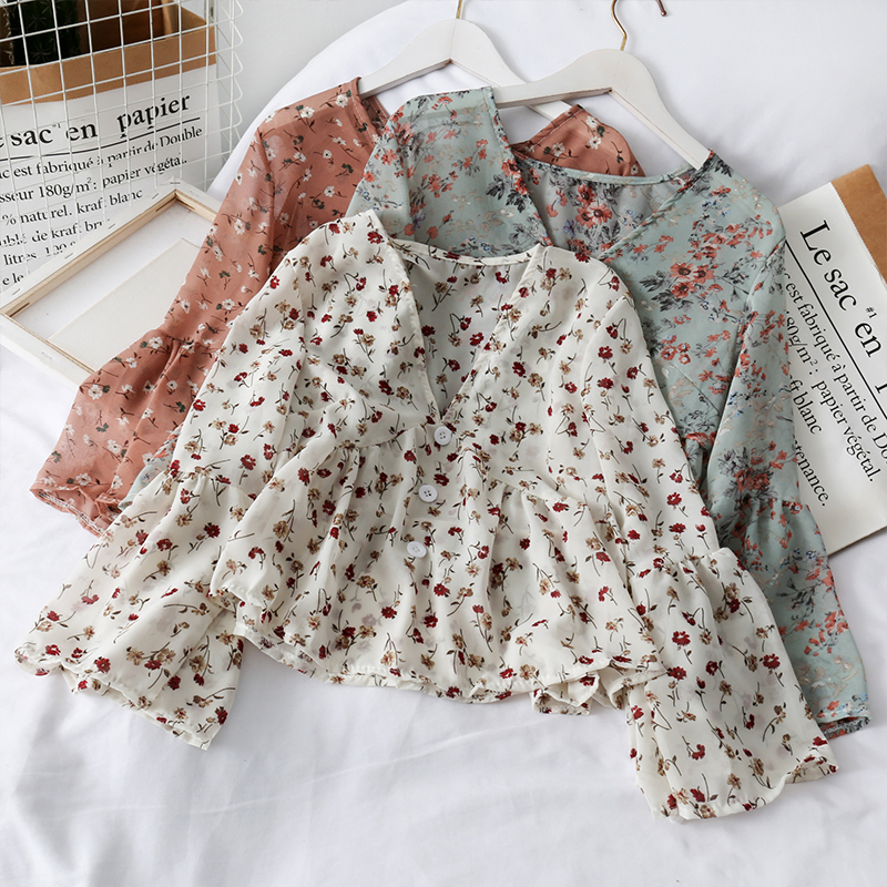 Ladies Floral V-Neck Casual Blouses Sweet Short Style Women Chiffon Tops And Blouses Long Sleeves Female Ruffles Button Shirts