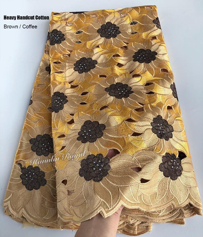 Ev ve Bahçe'ten Dantel'de 5 metre ağır handcut dantel pamuk delikli afrika İsviçre kumaşı dantel kumaş taşlar ile güzel Nijeryalı dikiş elbise'da  Grup 3