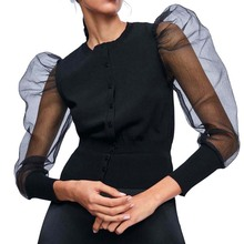 Fashion Women O Neck Mesh Jacket Black Puff Sleeve Jackets Slim Button Long Sleeve Jacket