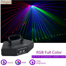6 Lens Rgb Full Color Scan Laser/DMX512 Led Lineaire Beam Effect Podium Verlichting/Laser Show Systeem/disco Dj Party Scanner Projector(China)