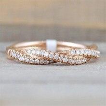 Fdlkファッションローズゴールド色のリングツイストヴィンテージキュービックジルコニアウェディング婚約指輪女性のための女の子のギフト