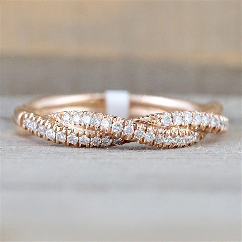 Fashion Rose-Gold-Color Ring Twist Vintage Cubic Zircon Wedding Engagement for Woman Girls Gift