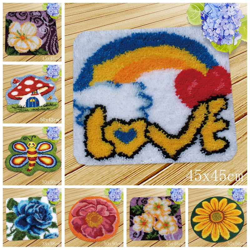 Rainbow Flower Cushion Button Package Smyrna Needle For Carpet Embroidery Everything For Handmade Latch Hook Rug Do It Yourself in Latch Hook from Home Garden