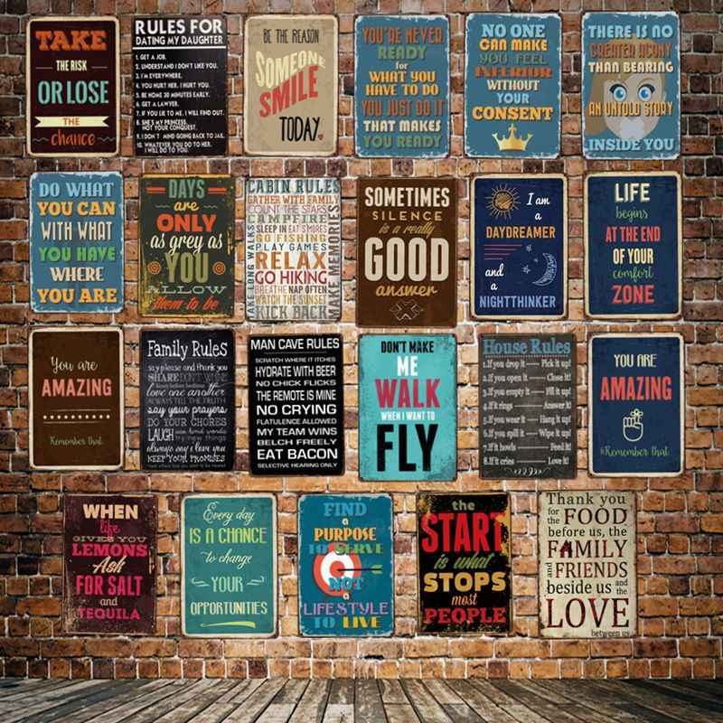 [ WellCraft ] House Family Smile Rule quote Metal Sign Posters art Vintage Painting Personality Custom shcool Decor LT-1772