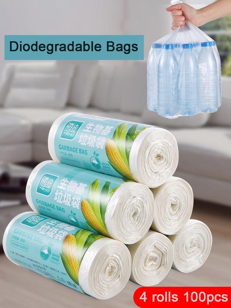 Биоразлагаемые хозяйственные мешки для мусора из кукурузы, одноразовые мешки для уборки унитаза, кухонные мешки для мусора, толстые пласти...