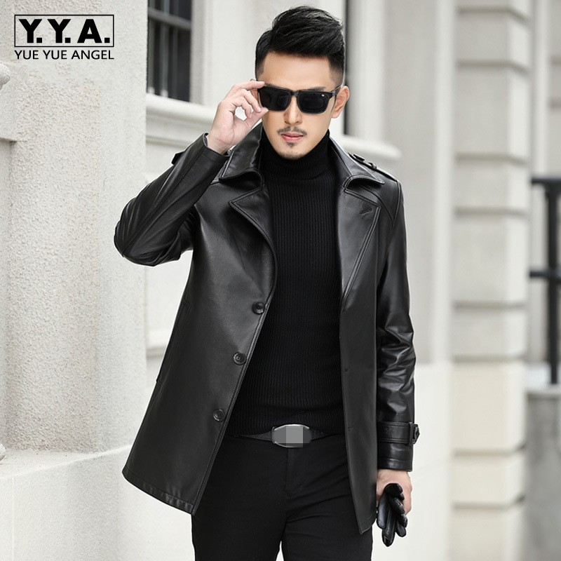 Brand Business Genuine Leather Coat Men Casual Sheepskin Single Breasted Blazer Luxury Winter Black Windbreakers Plus Size 4XL