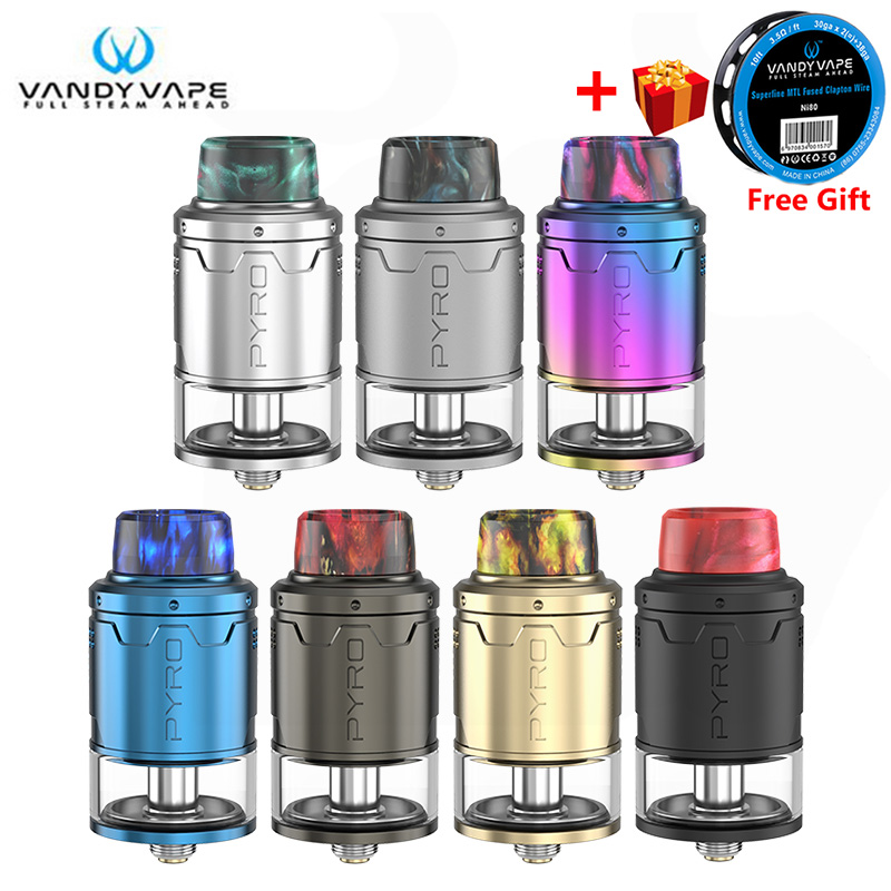 New Original Vandy Vape Pyro V3 RDTA Vape Tank 2ml Bottom Airflow Postless Build Deck Vandyvape Electronic Cigarette Atomizer