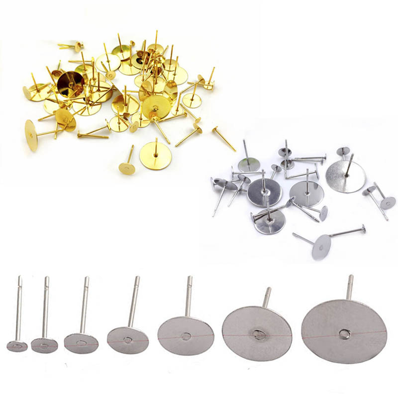 100pcs Gold/Steel Blank Earring Stud Base Fit 3 4 <font><b>5</b></font> <font><b>6</b></font> 8 10 12mm Cabochon Setting Accessories Supplies for DIY Jewelry Making image