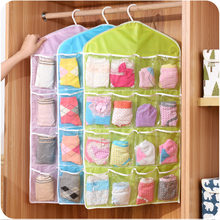 16 Pockets Wall Mounted Wardrobe Hang Organizer Sundries Jewelry Storage Bags Underwear Cosmetics Toys Organizer Bags New(China)