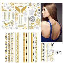 6 Pcs Temporary Tattoos Metallic Tattoos Gold And Silver Temporary Tattoos Tattoos Stickers