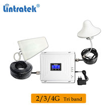 Lintratek Tri Band GSM 900mhz WCDMA 2100 LTE 1800mhz 2600 Mobile Signal Booster 2G 3G UMTS 4G Repeater Cellular Amplifier Set 50