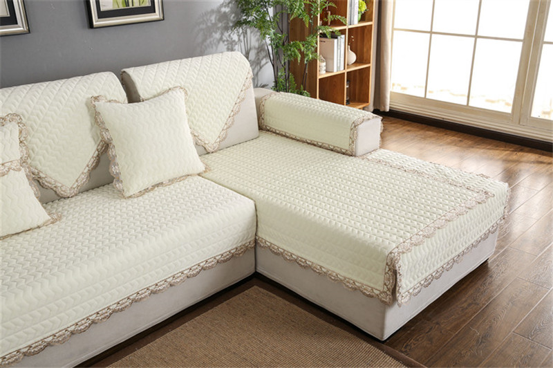 Thick Slip Resistant Couch Cover for Corner Sofa Made with Plush Fabric Including Lace for Living Room Decor 70