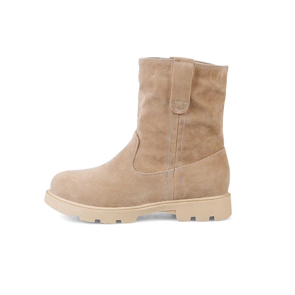 Sıcak satış büyük boy 33-43 slip-on siyah Platform patik kadınlar 2020 kış kaymaz yarım çizmeler sıcak kürk ayakkabı kadın